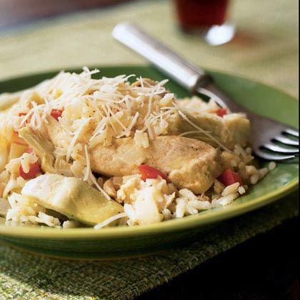 ... one pot recipe ever - lemon chicken with artichokes and brown rice