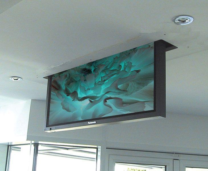 Drop down tv lift for tv 39 s upto 100 design pinterest for Hideaway retractable screens