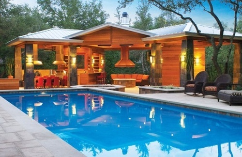 Pool With Cooking And Dining Areas Dream Backyards Pinterest