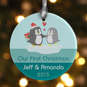 """This penguin design is adorable!!!! Cute """"Our First Christmas"""" ornament idea for newlyweds!"""