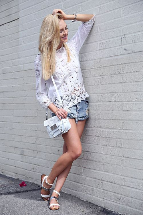 cute eyelet top & cutoff shorts #summer #style