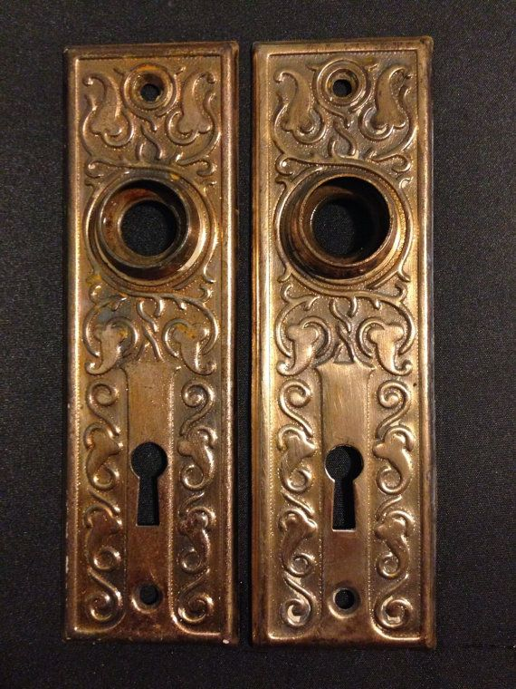 Vintage door face plates back plates 1920 39 s cottage decor for 1920 door knobs