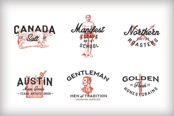 Vintage Americana Logos by RetroSupply Co  on Creative MarketVintage Americana Graphics