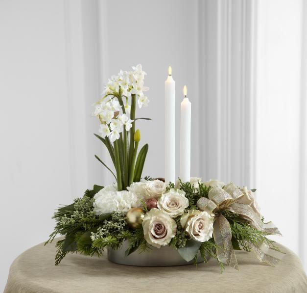 Ftd glowing elegance centerpiece christmas flowers