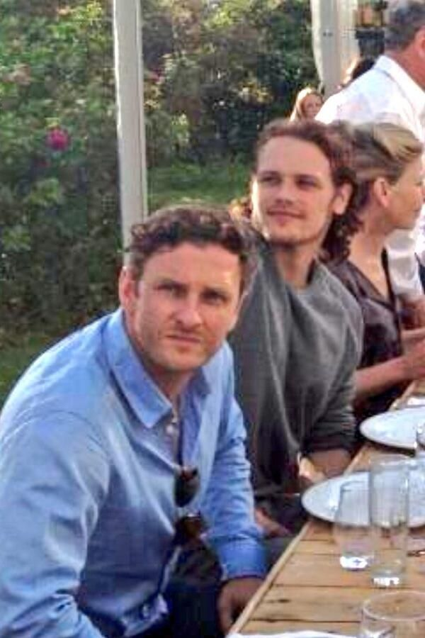 Steven cree amp sam heughan birthday party for ron d moore 05 07 14