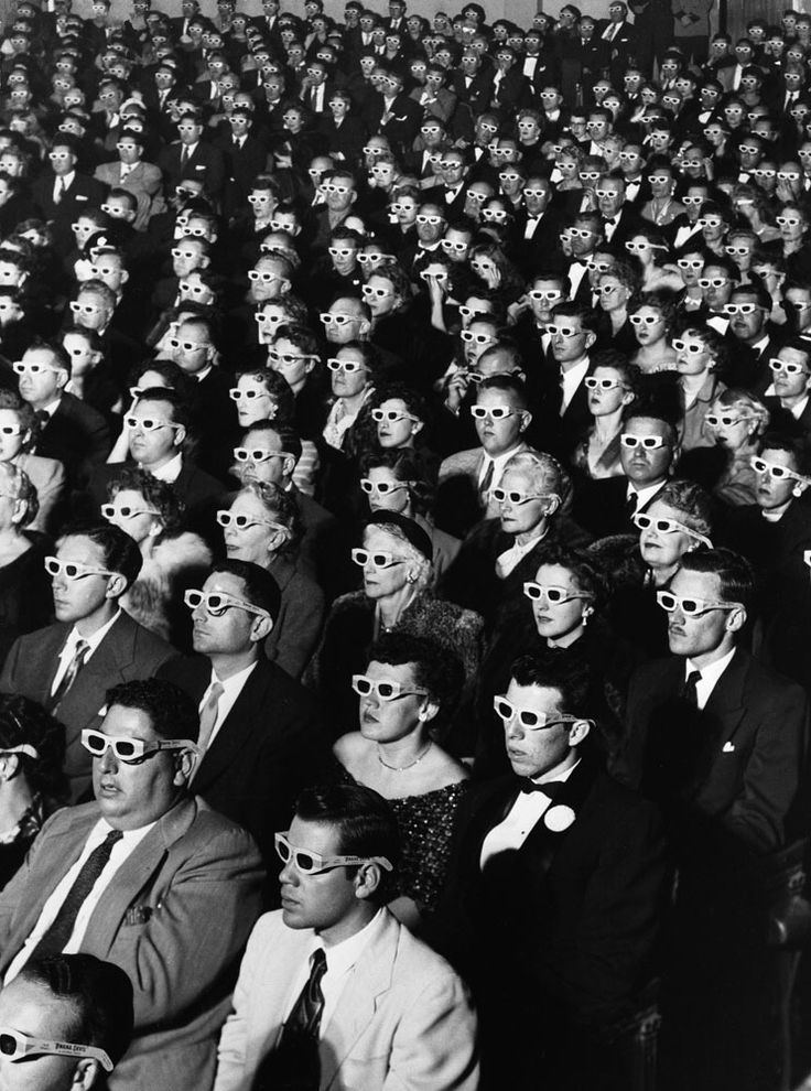 Riveted audience members enjoy opening night of the first full-length American 3-D feature film: the Arch Oboler-directed drama, Bwana Devil. Originally published in the December 15, 1952, issue of LIFE. See more: http://ti.me/HpxX39 (J.R. Eyerman—Time & Life Pictures/Getty Images)