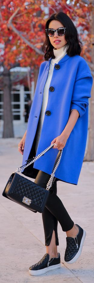 Klein Blue Modern Shape Coat by Vivaluxury