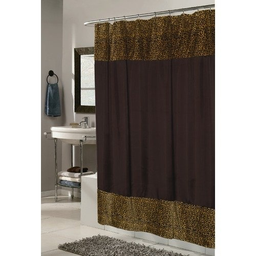 Home fashions animal instincts sheena faux fur trimmed shower curtain