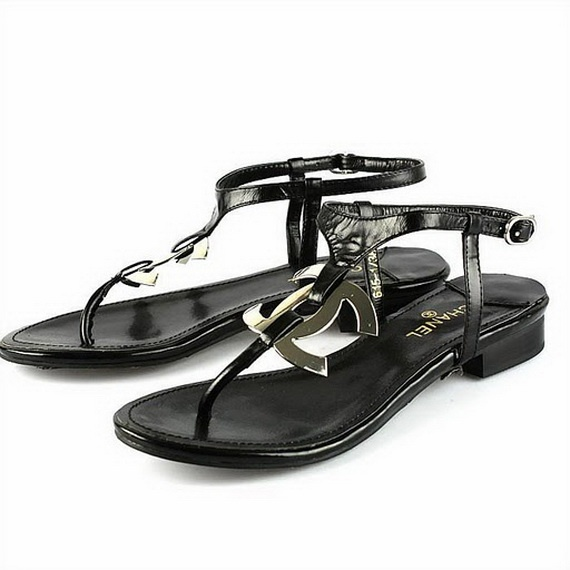 Beautiful  CHANEL Sandals Chain Leather Black Vintage Women39s Shoes 37 90009455