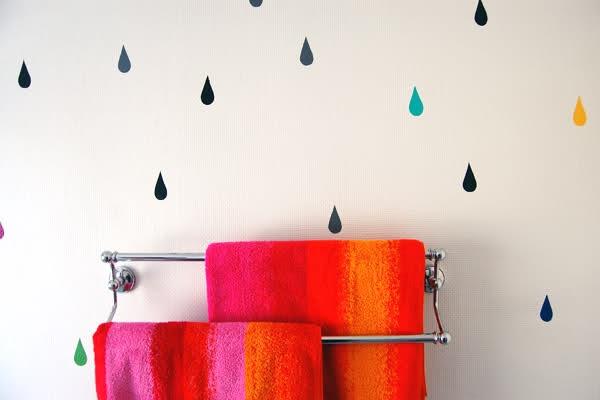Multicolor drops on a wall