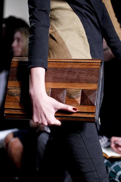 Donna Karan SS 2012, wooden clutch
