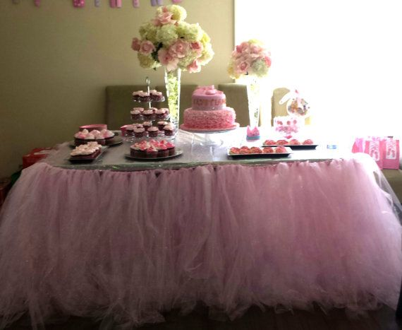 Any size tutu tulle ballerina baby shower tutu table for Baby shower tulle decoration ideas