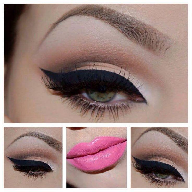 Pink lipstick neutral eyeshadow makeup : Face : Pinterest