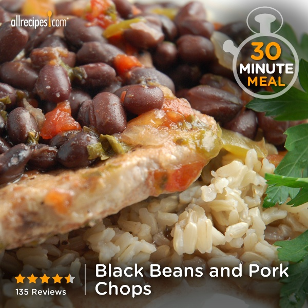 - pork chops, black beans, salsa, cilantro, black pepper, and olive ...