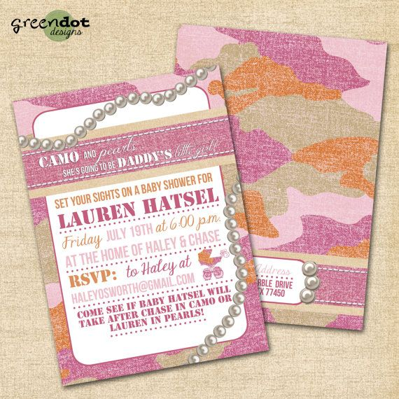 pink camo or pearls baby shower birthday invitation girl digital and