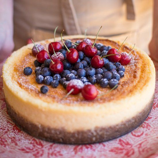 White Chocolate Cheesecake With Cherry Topping Recipe — Dishmaps
