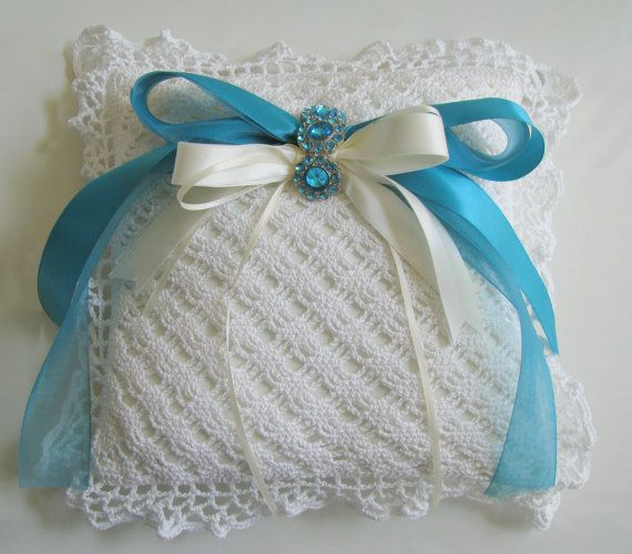 RING BEARERS PILLOW - Hand Crocheted Top - Custom Made to ...