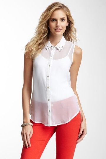 Images of White Sleeveless Blouse With Collar - Reikian
