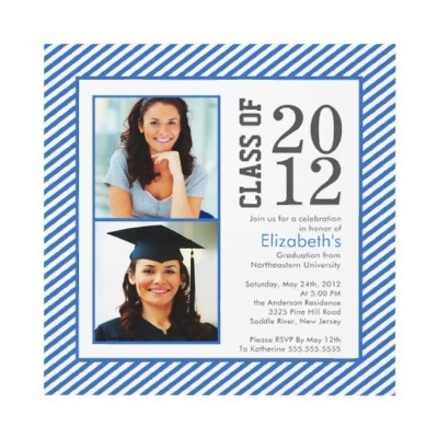 Modern Blue Stripes Photo Graduation Invitation  Start off you event right with our class of 2012 modern blue & white stripe 2 photo graduation party invitation.