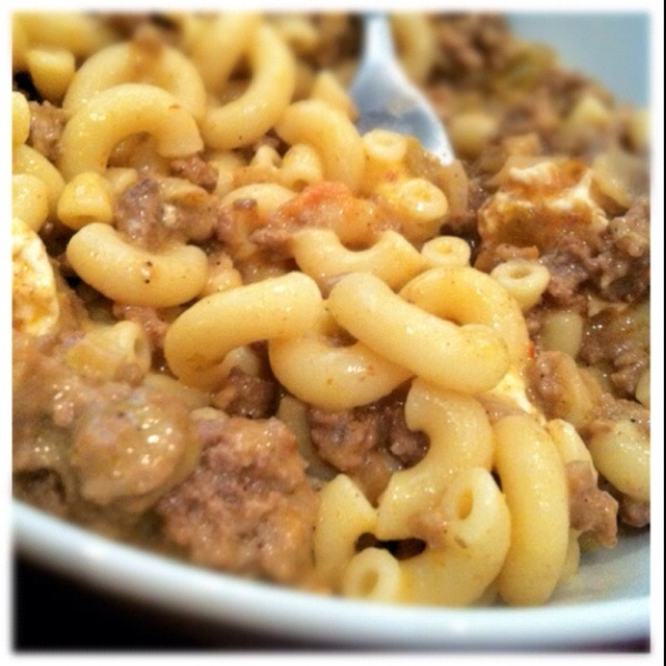 What to do with Leftovers - Mac & Cheese with spicy ground beef