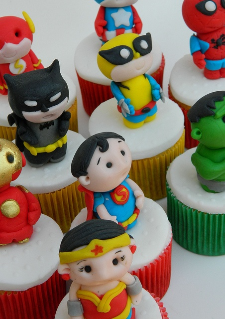 super heroes cupcakes by Ana_Fuji, via Flickr