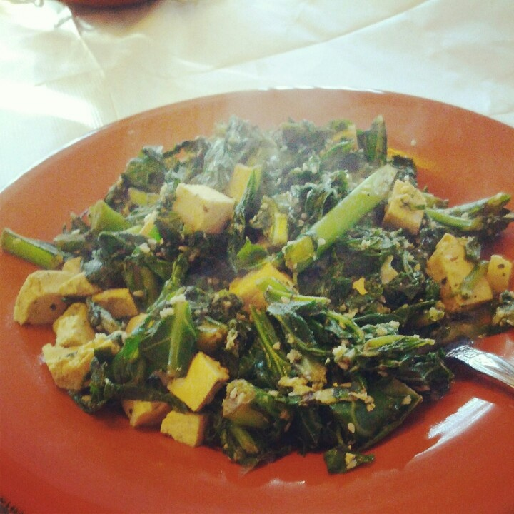 Spinach, Kale and Tofu with sunflower seed oil, sesame seeds and ...