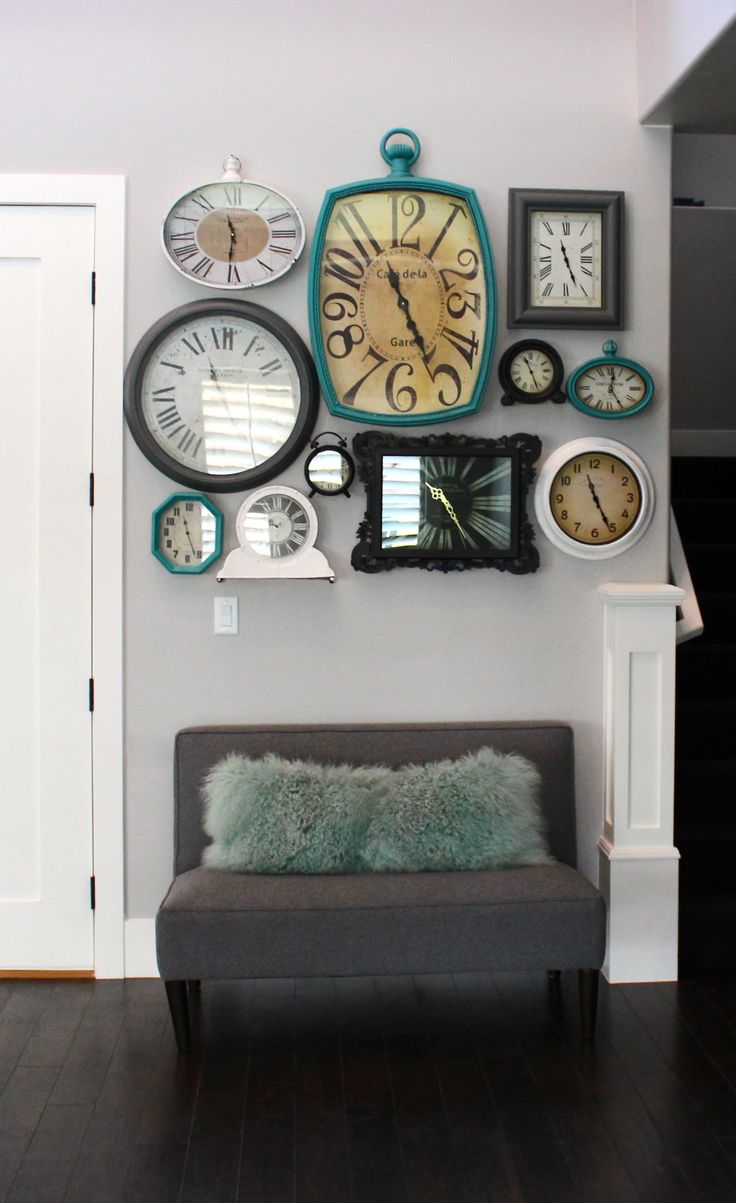 I love the big turquoise clock but I'd paint black  This would be cute with a quote about time and family...Wall Clock Collage www.elliebeandesign.com
