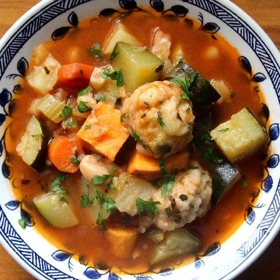 Roasted Vegetable Soup With Herb Dumplings Recipe — Dishmaps