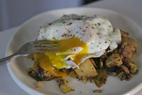 Brussels sprout-potato hash. | Edibles | Pinterest
