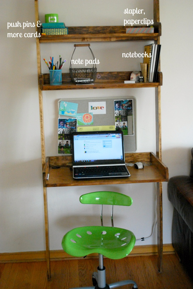 """Leaning bookshelf with space for laptop.It's my new """"office"""" made by my husband."""