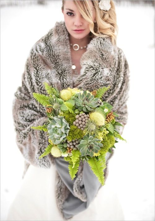 LOVE the faux fur coat over wedding dress for a winter wedding photos outside in the snow! Kind of makes me want a winter wedding!