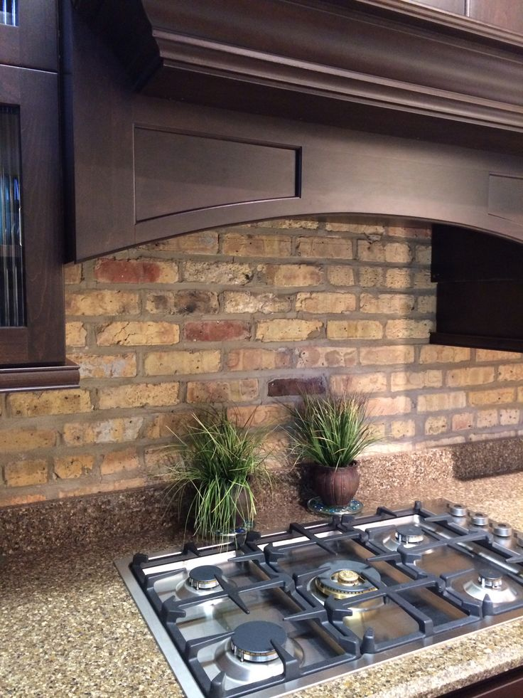 rustic brick as a backsplash kitchen pinterest