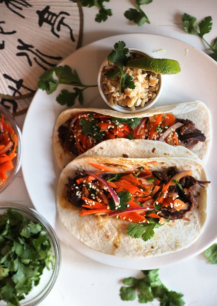 Crockpot Korean Beef Rid Tacos with Asian Slaw...a totally different ...