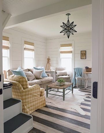 Light fixture, striped floor, wood walls.