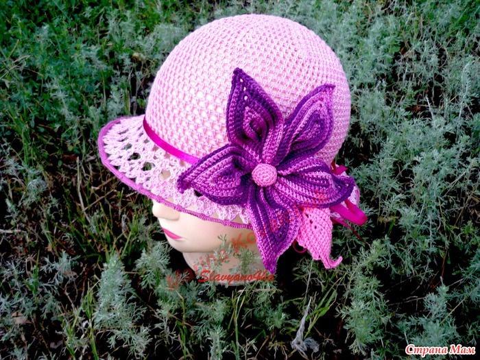 Free Crochet Pattern For Panama Hats : Beautiful Panama Hat with Flower free crochet graph ...