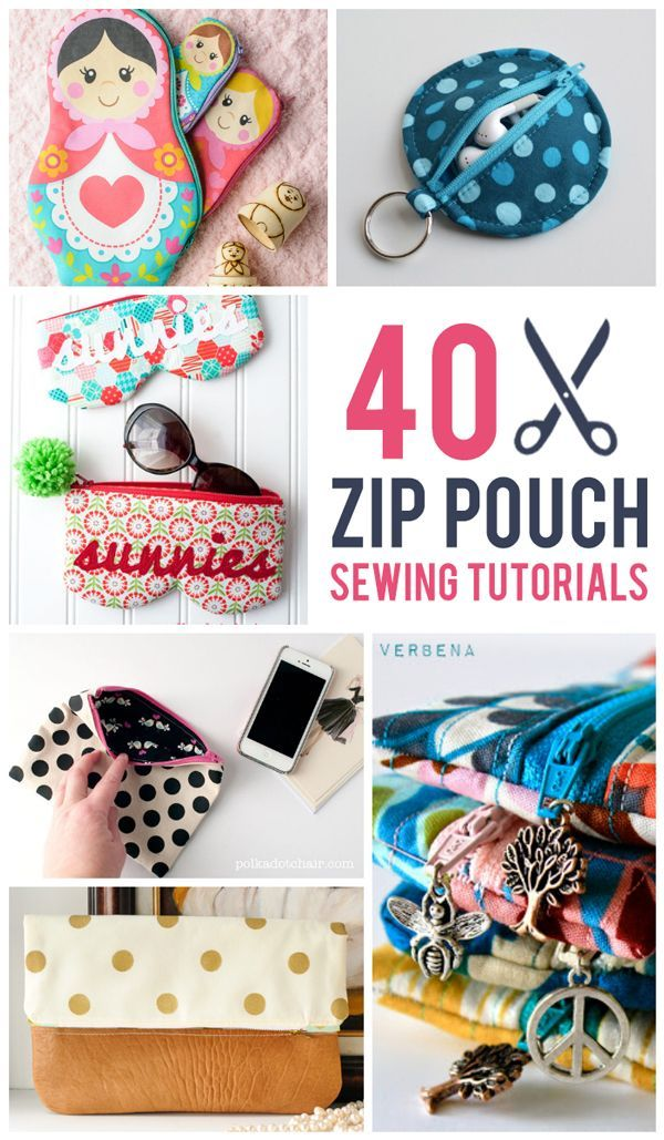 40 Zip Pouch Sewing Tutorials. These make me want to dust off my sewing machine! Roundup via @Melissa Squires | Polka Dot Chair #sew #sewing