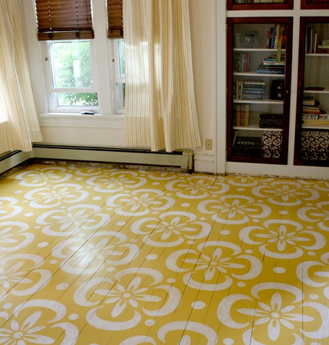 Yellow painted floor with stencil copy chalk paint for Painting vinyl floors with chalk paint