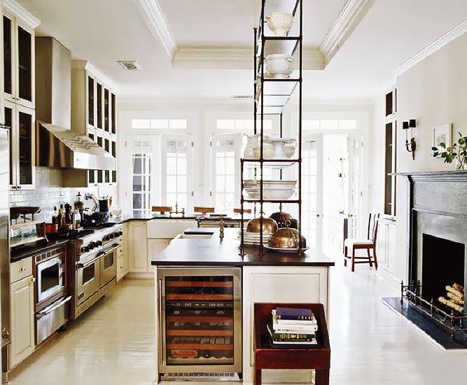 Tour the Ultimate Designer Dream Home// traditional kitchen design, Darryl Carter, bakers rack, wine fridge
