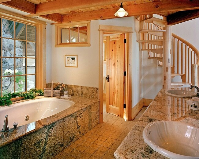 Log cabin bathroom this an that pinterest for Log cabins with bathrooms
