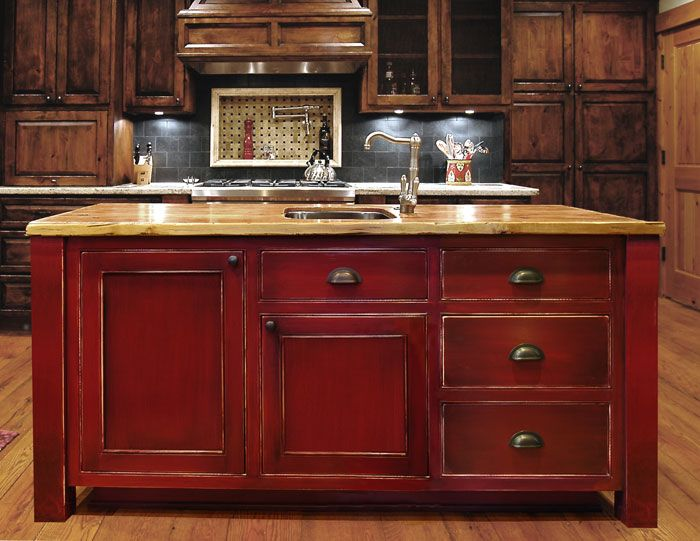 Dark red painted kitchen cabinets for Red kitchen cabinets