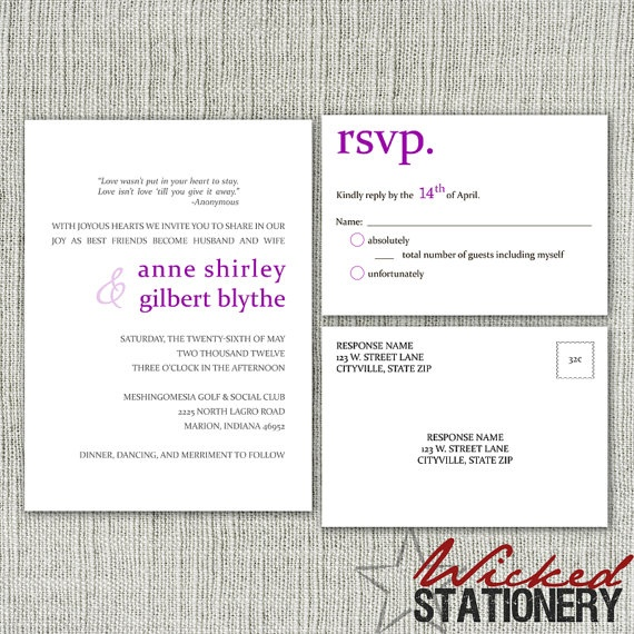 Basic Modern Text Wedding Invitation and RSVP Postcard Set by ...