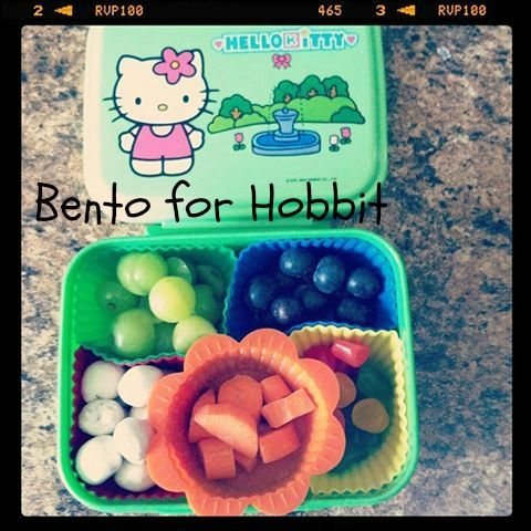 New Hello Kitty Bento box and his bento for that day :) #Bentoforhobbit