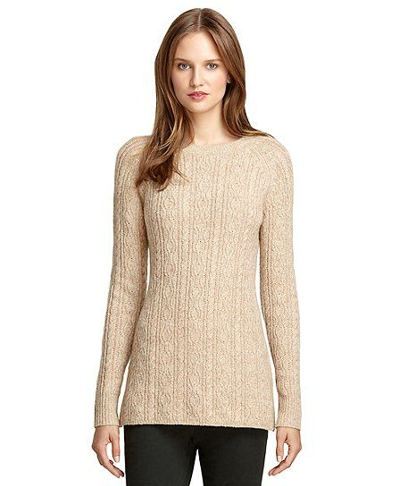 Camel Hair Cable Knit Tunic Sweater Detailshttp://www.brooksbrothers.com/Camel-Hair-Cable-Knit-Tunic-Sweater/WY00316_____KHKN_LG_______,default,pd.html ITEM# WY00316 $ 398.00 $ 159.20 DESCRIPTION & FEATURES Cable Knit Tunic Sweater crafted from camel hair. Tunic inspired body with an allover cable knit pattern. Dry clean. Imported.  Variations COLOR: Camel Camel SIZE Sizing Guide L Product ActionsADD TO CART OPTIONS QUANTITY 1 In stock and ready to ship now.  ADD TO BAG REMEMBER THIS This item …