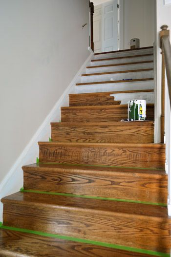 Stairs stripes installing a stair runner - Painting wooden stairs white ...