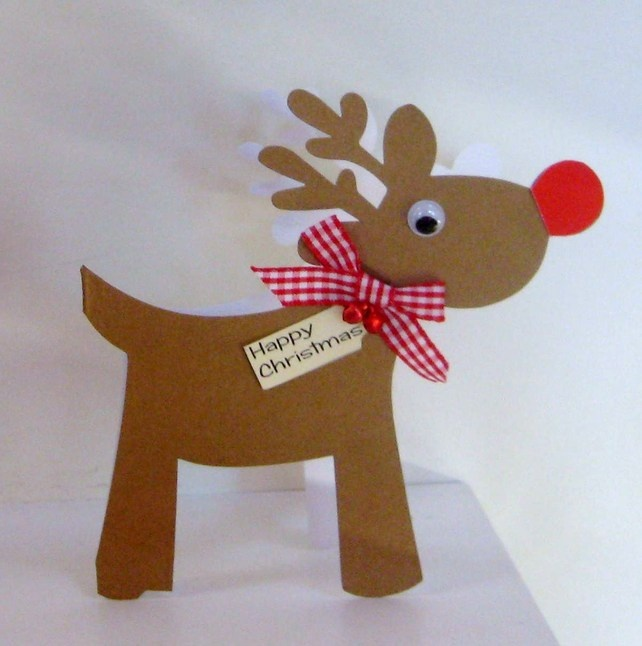 Reindeer christmas card for Reindeer christmas card craft