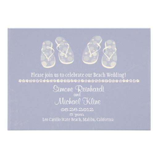 Beach Wedding Invitation With Flip Flops Flip Flop Wedding Invitati