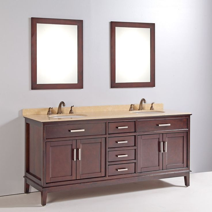 Marble Top 72 Inch Double Sink Bathroom Vanity With Mirror And Faucet