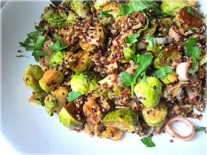 ... : BEST Quinoa Recipe w/ Roasted Brussels Sprouts, Leeks & Almonds