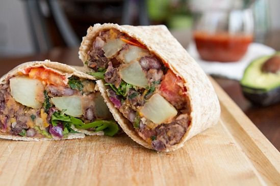 Spicy Potato 'n Black Bean Burritos. A hearty breakfast beckons.