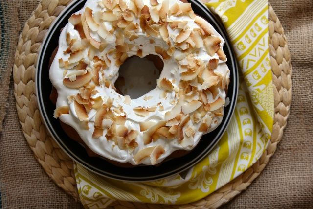 White Bean Bundt Cake - simple topped with a light frosting & toasted ...